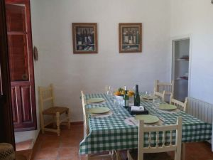 One of the indoor dining areas in the spanish farmhouse