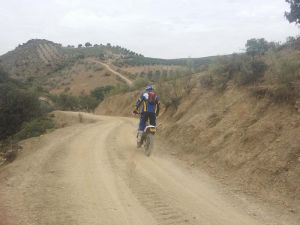 Riding along some amazing dusty off-road dirt tracks